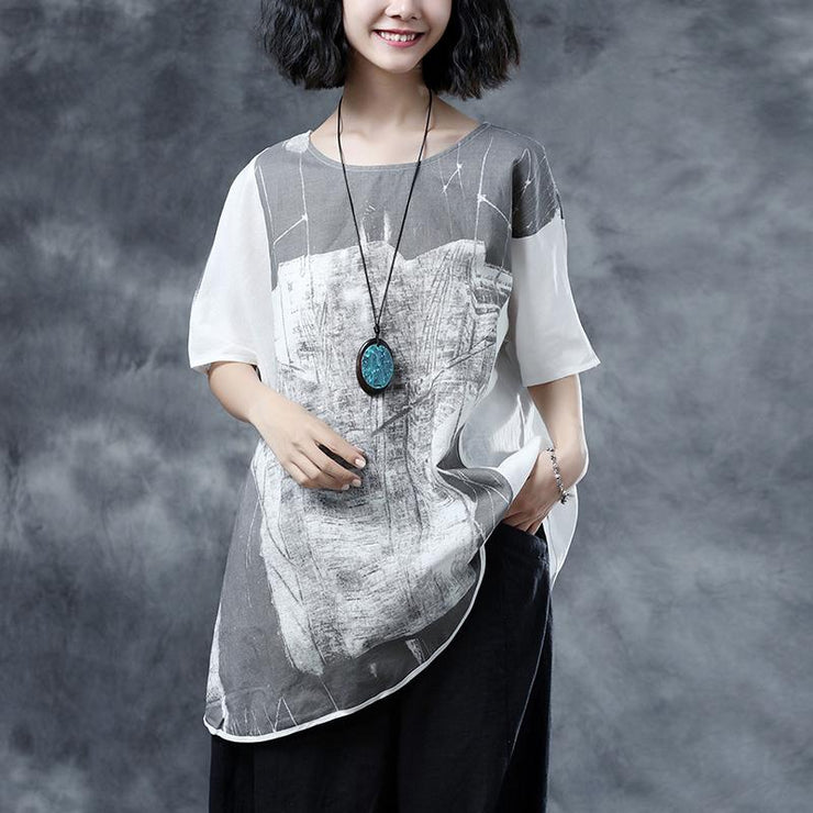 Elegant linen summer top casual Short Sleeve Abstract Pattern White Summer Blouses Shirts