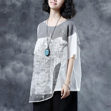 Load image into Gallery viewer, Elegant linen summer top casual Short Sleeve Abstract Pattern White Summer Blouses Shirts