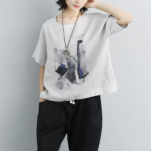 Elegant linen tops plus size Casual Printed Round Neck Short Sleeve Gray T-shirt