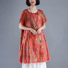 Load image into Gallery viewer, Elegant long linen dress plus size clothing Short Sleeve slit Summer Printed Casual Dress