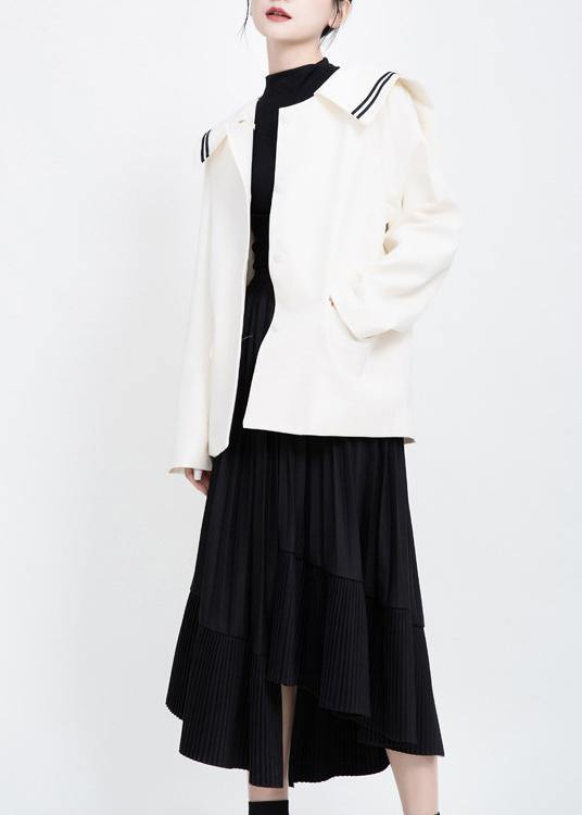 Elegant long sleeve Fashion Sailor Collar outfit white Knee jackets