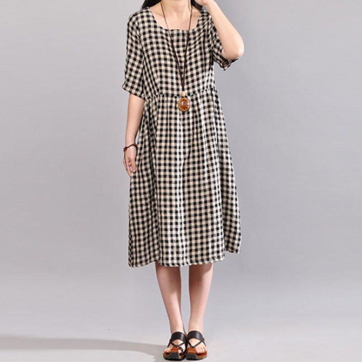 Elegant natural cotton dress oversize Round Neck Plaid Summer Short Sleeve Summer Dress