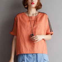 Load image into Gallery viewer, Elegant natural cotton linen t shirt plus size High-low Hem Summer Short Sleeve Orange Blouse