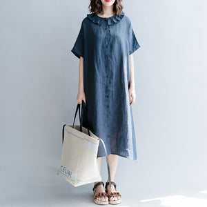 Elegant navy cotton linen dress casual dress top quality short sleeve patchwork Peter pan Collar pockets cotton linen dresses