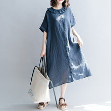 Load image into Gallery viewer, Elegant navy cotton linen dress casual dress fine short sleeve patchwork Peter pan Collar pockets cotton linen dresses