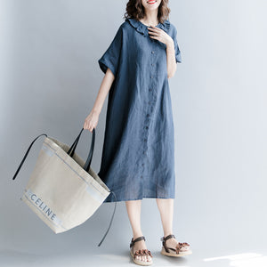 Elegant navy cotton linen dress casual dress fine short sleeve patchwork Peter pan Collar pockets cotton linen dresses