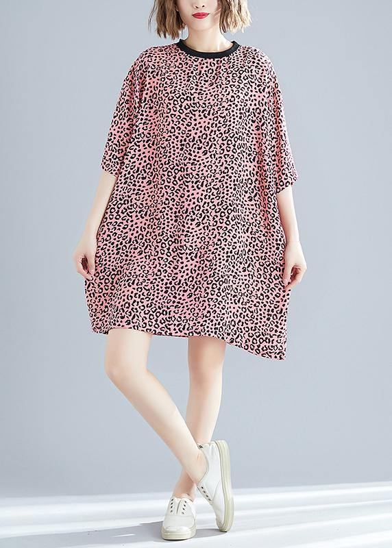 Elegant o neck Batwing Sleeve Cotton blended Korea Neckline pink Leopard daily Dress Summer