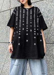 Elegant o neck back side open cotton clothes For Women Tutorials black Letter blouse