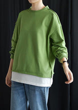 Load image into Gallery viewer, Elegant o neck false two pieces cotton linen tops women green top fall
