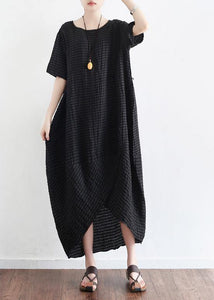 Elegant o neck linen clothes Tutorials black Dress summer
