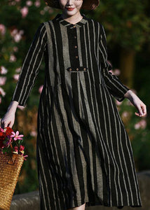 Elegant o neck linen spring clothes For Women pattern black striped Dresses