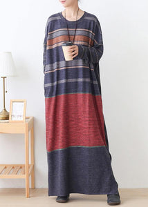 Elegant o neck side open cotton outfit Inspiration red striped Art Dresses