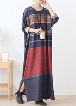 Load image into Gallery viewer, Elegant o neck side open cotton outfit Inspiration red striped Art Dresses