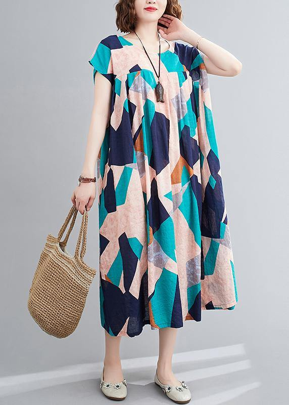Elegant o neck Cinched summer outfit Photography blue Geometric Dress