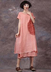 Elegant orange embroidery linen cotton dress side open long summer Dresses