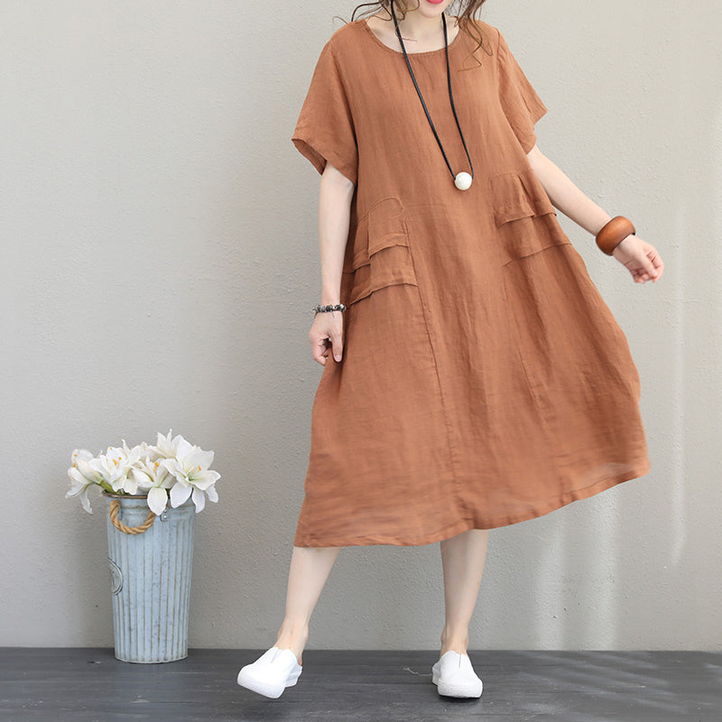 Elegant orange khaki linen shift dresses oversized linen cotton dress 2018 o neck patchwork cotton dresses