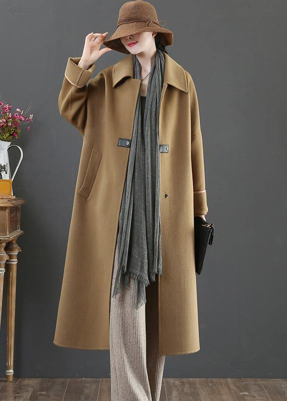Elegant oversize Coats winter woolen outwear brown lapel pockets wool coat for woman