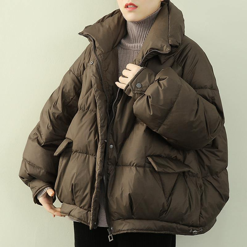 Elegant oversize snow jackets winter outwear chocolate stand collar zippered down coat