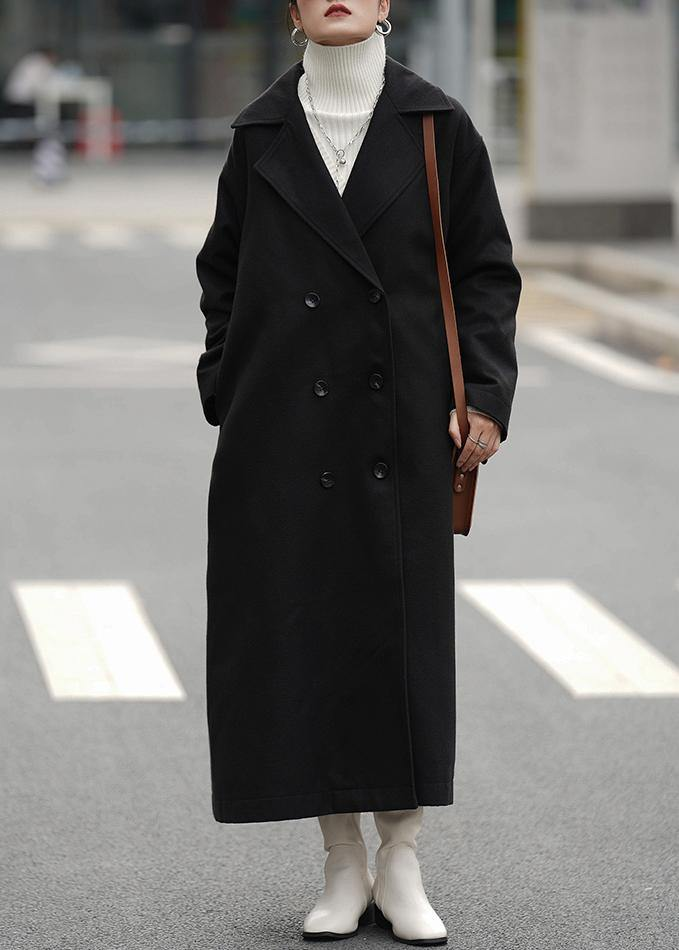 Elegant oversized Coats outwear black Notched double breast woolen overcoat