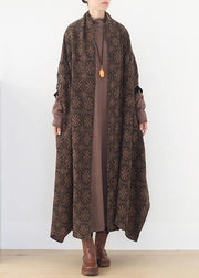 Elegant oversized mid-length coats winter brown Batwing Sleeve v neck woolen outwear