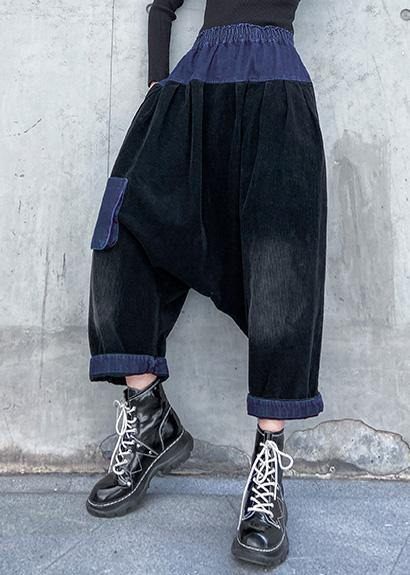 Elegant patchwork wild trousers plus size clothing black Fabrics pockets pants