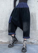 Load image into Gallery viewer, Elegant patchwork wild trousers plus size clothing black Fabrics pockets pants