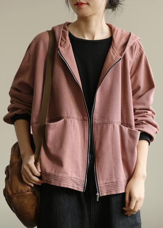 Elegant pink Fashion coat for woman Tutorials hooded zippered fall coat