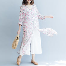 Load image into Gallery viewer, Elegant pink print long linen dresses trendy plus size v neck side open gown boutique Three Quarter sleeve gown