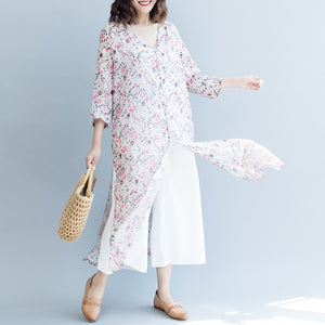 Elegant pink print long linen dresses trendy plus size v neck side open gown boutique Three Quarter sleeve gown