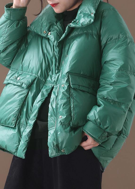 Elegant plus size clothing snow jackets winter overcoat green stand collar duck down coat