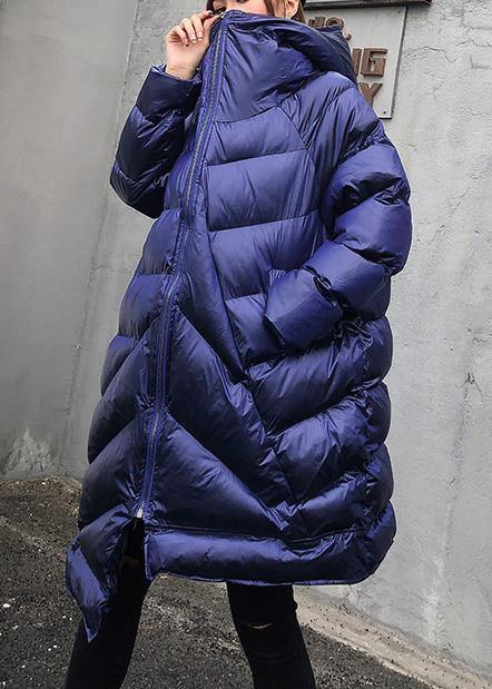 Elegant plus size clothing winter coats blue hooded zippered women parka