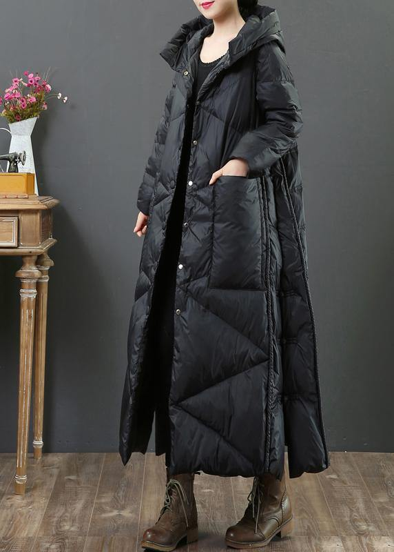 Elegant plus size clothing womens parka Jackets black hooded Button Down down jacket woman