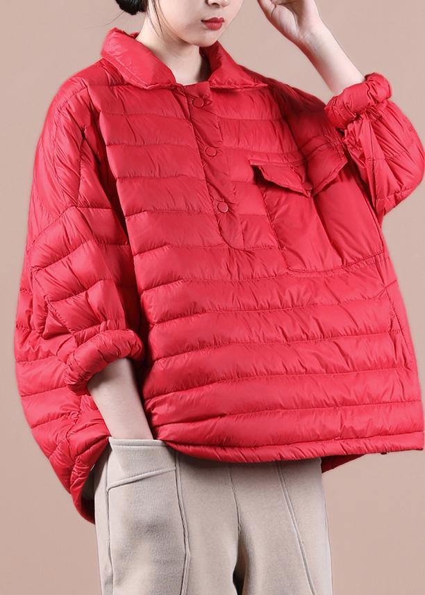 Elegant plus size down jacket overcoat red lapel pockets goose Down coat