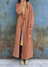 Load image into Gallery viewer, Elegant plus size maxi coat hooded jackets yellow double breast wool overcoat