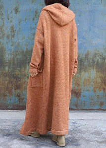 Elegant plus size maxi coat hooded jackets yellow double breast wool overcoat