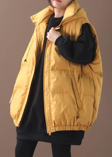 Elegant plus size warm winter coat yellow hooded sleeveless casual outfit