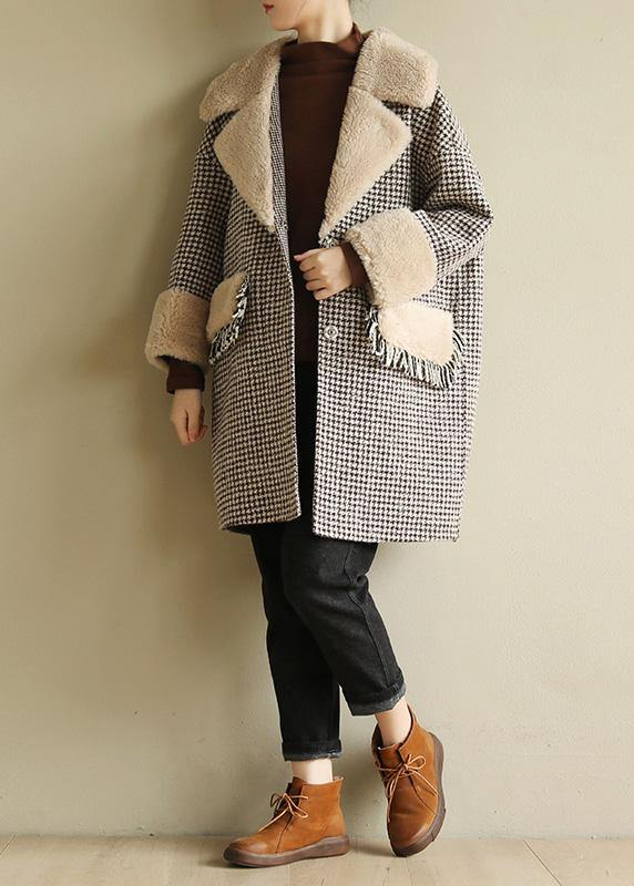 Elegant plus size winter coat patchwork jacket plaid two pockets woolen coats
