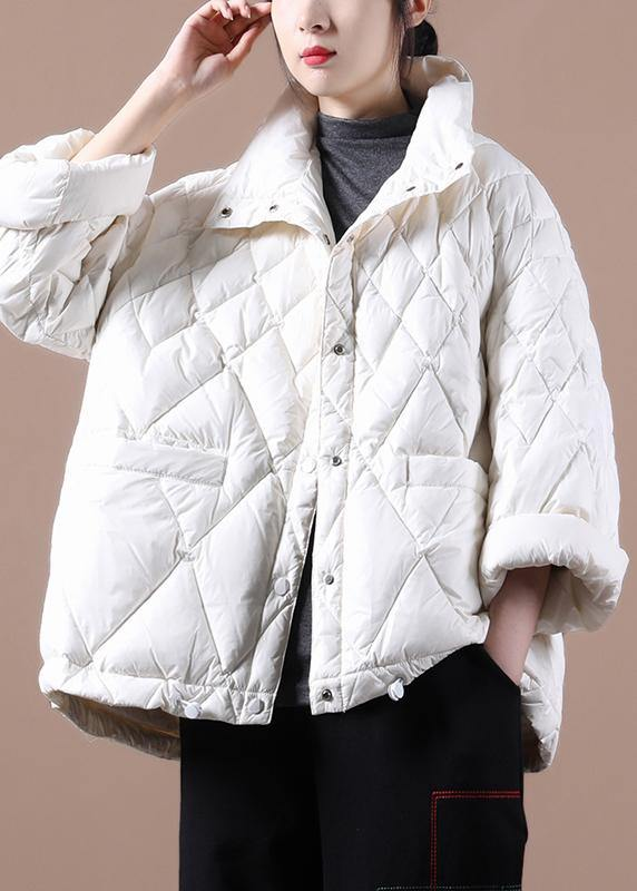 Elegant plus size winter jacket coats white stand collar Button Down duck down coat