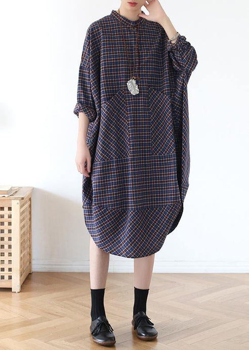 Elegant pockets fall clothes Women blue purple plaid loose Dresses