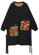 Load image into Gallery viewer, Elegant pockets side open Cotton dresses Shirts black patchwork camouflage Dresses