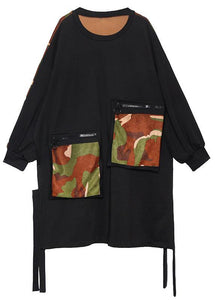 Elegant pockets side open Cotton dresses Shirts black patchwork camouflage Dresses