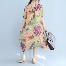 Load image into Gallery viewer, Elegant prints long cotton dresses oversize o neck cotton gown vintage short sleeve traveling clothing