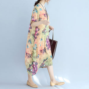 Elegant prints long cotton dresses oversize o neck cotton gown vintage short sleeve traveling clothing