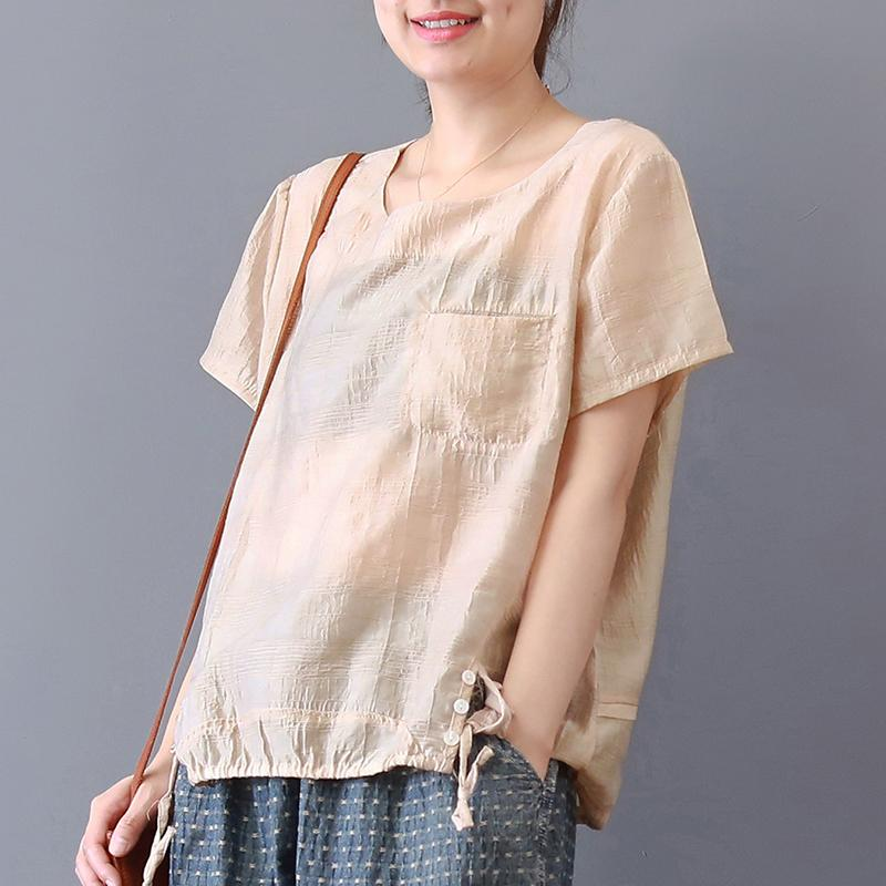 Elegant pure cotton blended tops casual Short Sleeve Solid Color Casual High-Low Hem Blouse