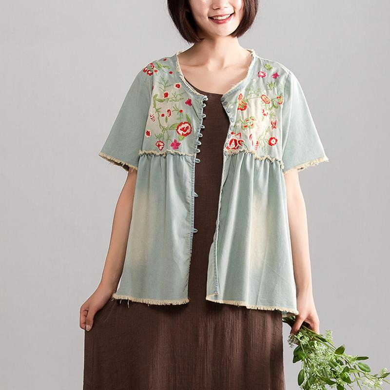 Elegant pure cotton blouse trendy plus size Embroidery Women Summer Short Sleeve Casual Loose Denim Tops