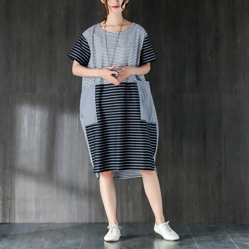 Elegant pure cotton dresses oversized Large Pockets Stripe Cotton Thin Summer Women Dress
