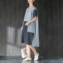 Load image into Gallery viewer, Elegant pure cotton dresses oversized Large Pockets Stripe Cotton Thin Summer Women Dress