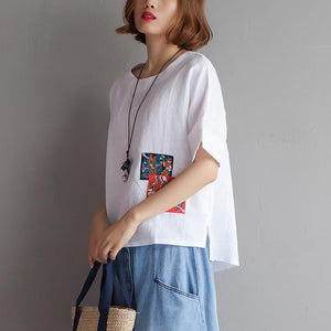 Elegant pure cotton linen tops plus size Embroidery High-low Hem Summer Short Sleeve White Blouse