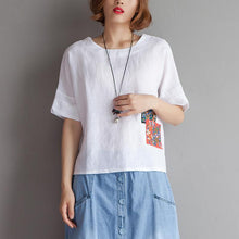 Load image into Gallery viewer, Elegant pure cotton linen tops plus size Embroidery High-low Hem Summer Short Sleeve White Blouse