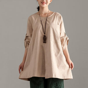 Elegant pure cotton tops oversize  Casual Short Sleeve Khaki Pocket Long Tops